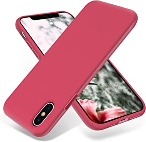 OTOFLY iPhone Xs Max Case,Ultra Slim Fit iPhone Case Liquid Silicone Gel Cover with Full Body Protection Anti-Scratch Shockproof Case Compatible with iPhone Xs Max, [Upgraded Version] (Hibiscus)