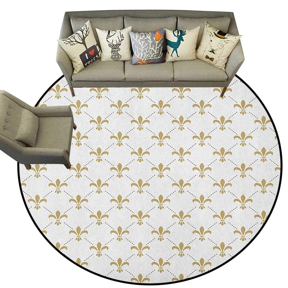 Style10 Diameter 54(inch& xFF09; Fleur De Lis,Personalized Floor mats Diagonal Checkered Pattern with Heraldic Symbols Retro Royal French D54 Floor Mat Entrance Doormat