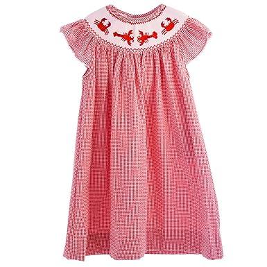 79b158702 Carriage Boutique Baby Girl Spring Bishop Dress - Red Lobster, 3M (Newborn)