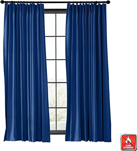 TWOPAGES Wide Width Blackout Pinch Pleat Curtain Flame Retardant Fireproof Curtain Thermal Insulated Fire Resistant Curtain Window Drape Blue