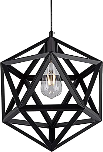 SHENGYADI Industrial Polyhedron Pendant Light Black Wrought Geometric Pendant Lamp Vintage Metal Cage Hanging Lighting Fixture for Kitchen Island Dining Room Loft Bar Cafe Restaurant