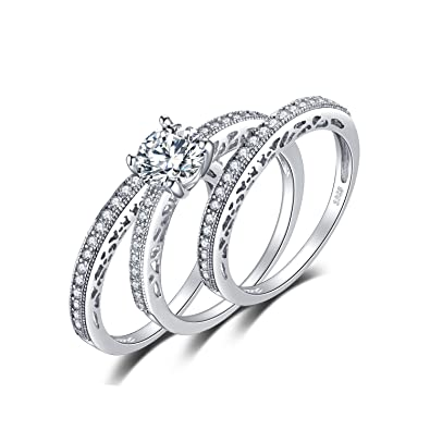 Amazon.com: JewelryPalace - 3 anillos de boda de plata de ...