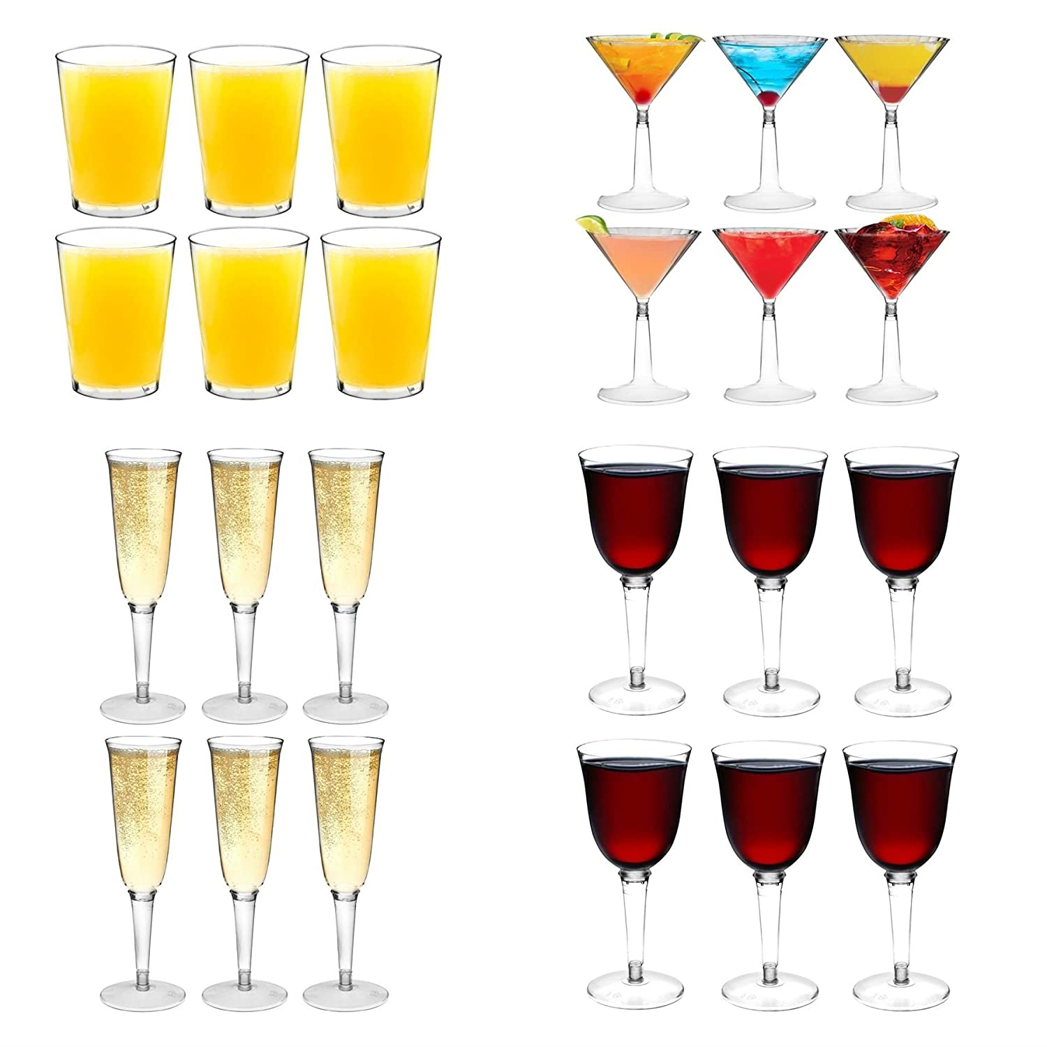 Plastic Outdoor Water Tumblers / Hiballs, Wine Glasses, Champagne Flutes and Martini cocktail glasses - Set Of 24 Rink Drink