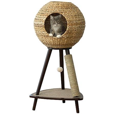 Sphere Scratch Post Cat Tree Furniture 44u0026quot; Kitty Freestanding Luxury  Bed Kitten Scratching ...