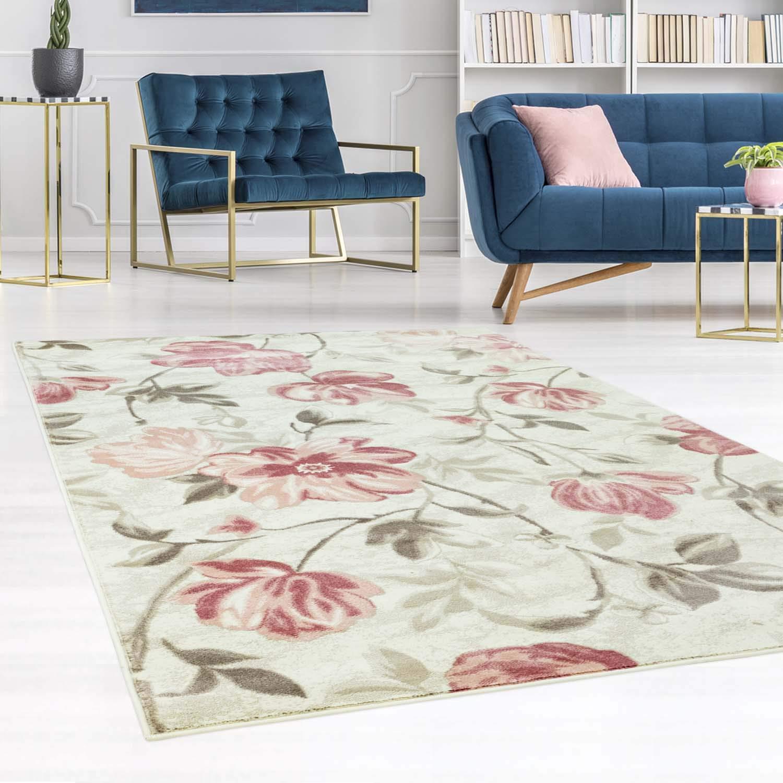 carpet city Teppich Flachflor Inspiration mit Blumen, Floralen Muster in Pastell-Rosa, Beige, Creme für Wohnzimmer, Größe: 200x290 cm