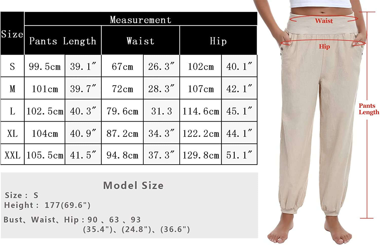 Mujer Doaraha Pantalones De Lino Para Mujer Harem Pantalones Cintura Elastica Casual Bombacho Pantalones Con Bolsillo Ropa Celp Es