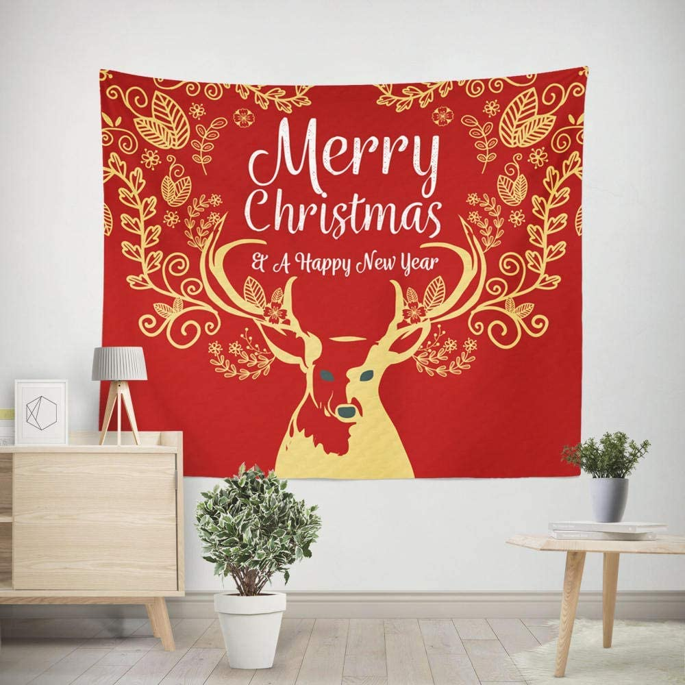 LLWWRR1 Christmas Moose Tapestry Wall Hanging Mandala Indian Hippie Print Tapestry Picnic Beach Sheet Table Cloth Art Tapestries-150cm(W) x150cm(H)