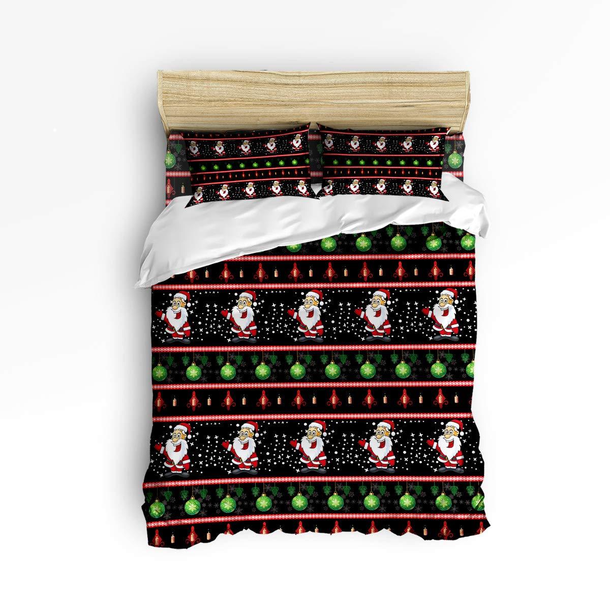 EZON-CH 4ピース布団カバーセット ソフトで快適な寝具セット 女の子/男の子用 カラフルな波状ブラックパターン 大人用ベッドシーツセット フラットシーツ1枚 掛け布団カバー1枚 枕カバー2枚 フルサイズ 20181210WHLEZONSJTTSLXM02302SJTBEZN B07L8LJ653 Christmas 1516lezn1042 フルサイズ