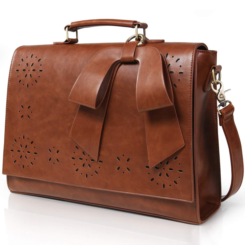 Lifewit 14 Zoll Laptoptasche Frauen Umhängetasche Größ Schultertasche Leder Vintage Braun