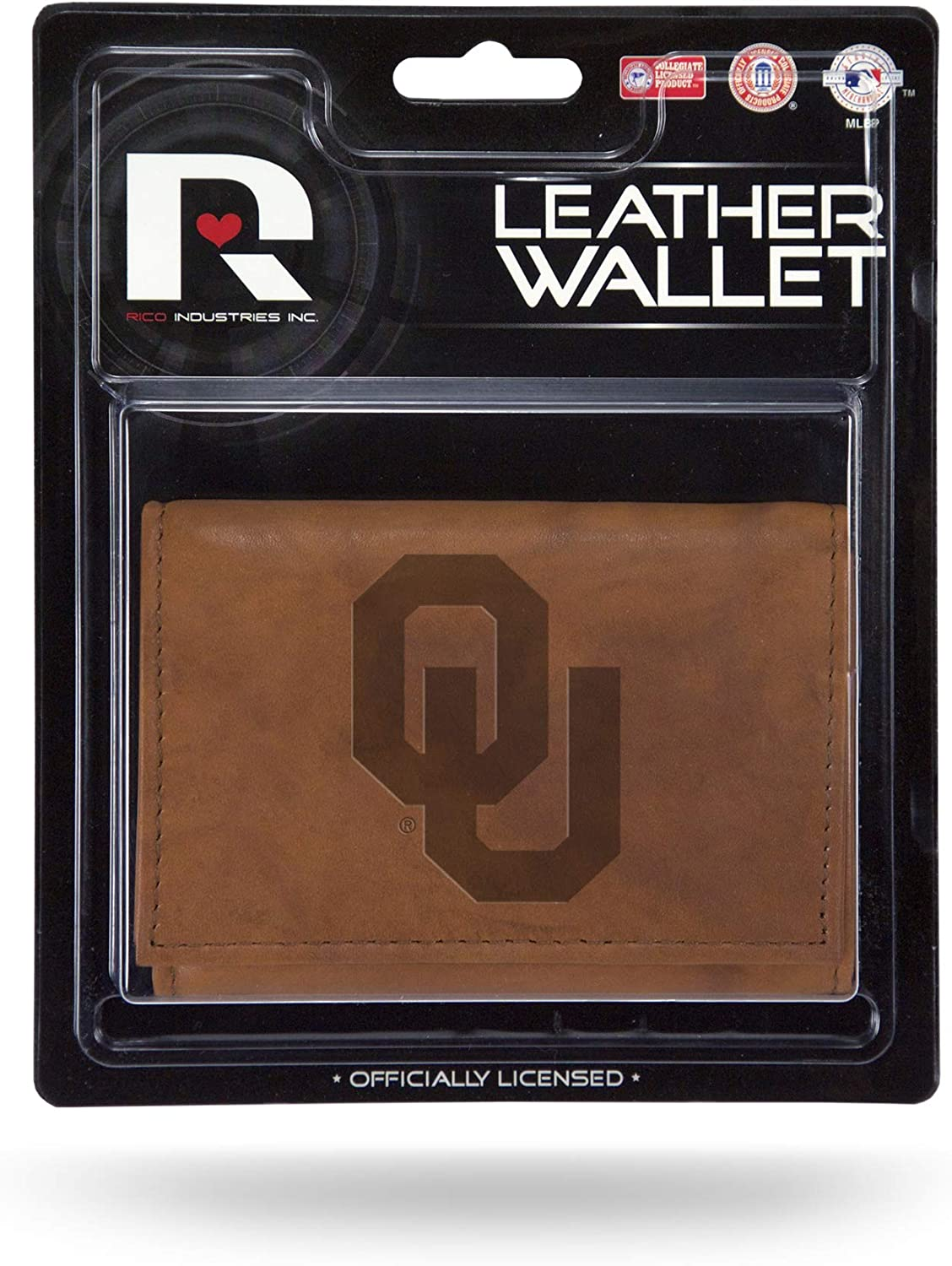 Rico Industries NCAA Oklahoma Sooners Embossed Leather Trifold Wallet with Man Made Interior