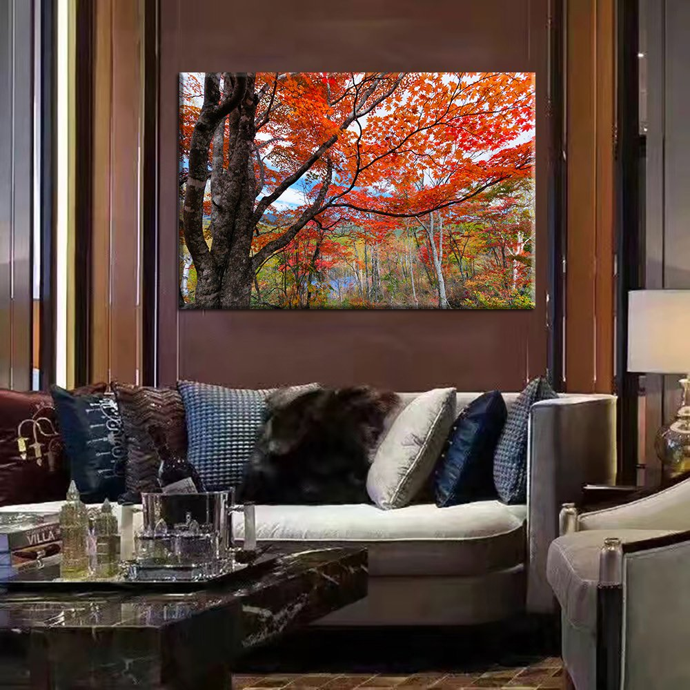 Modern Red Maple Leaves Canvas Painting of a Forest During Fall Time Surrounding a Lake autumn Scenery Contemporary Wall Art Landscape Pictures for Living Room Framed Ready to Hang(32''Wx24''H)