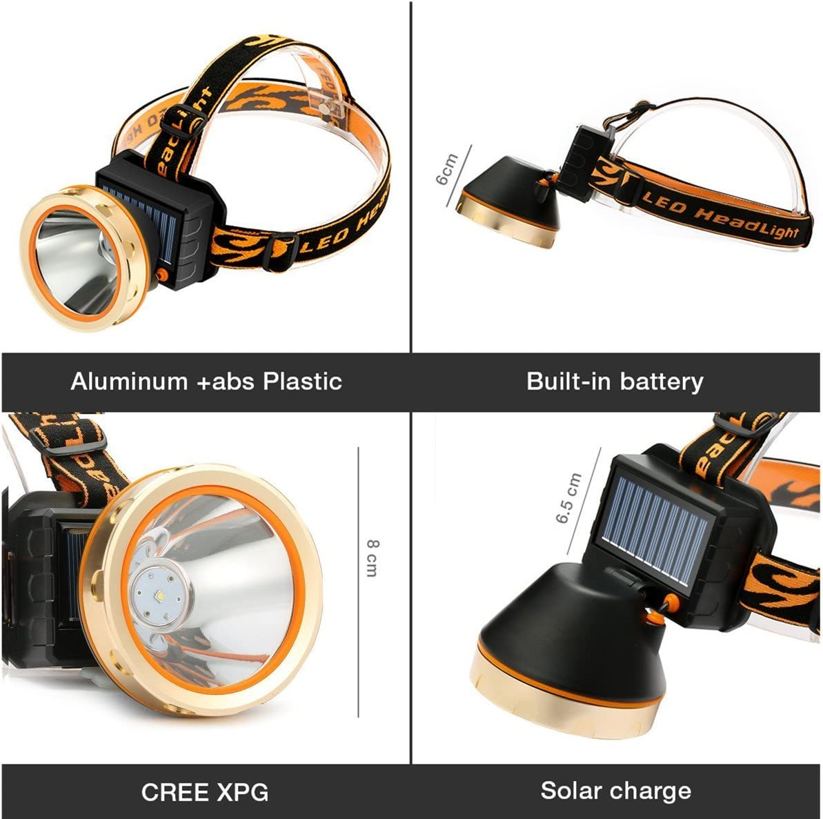 etc. acampadas impermeable Linterna de minero solar recargable LED ciclismo para senderismo pesca de Sgodde 3 modos de funcionamiento con cinta el/ástica ajustable caza