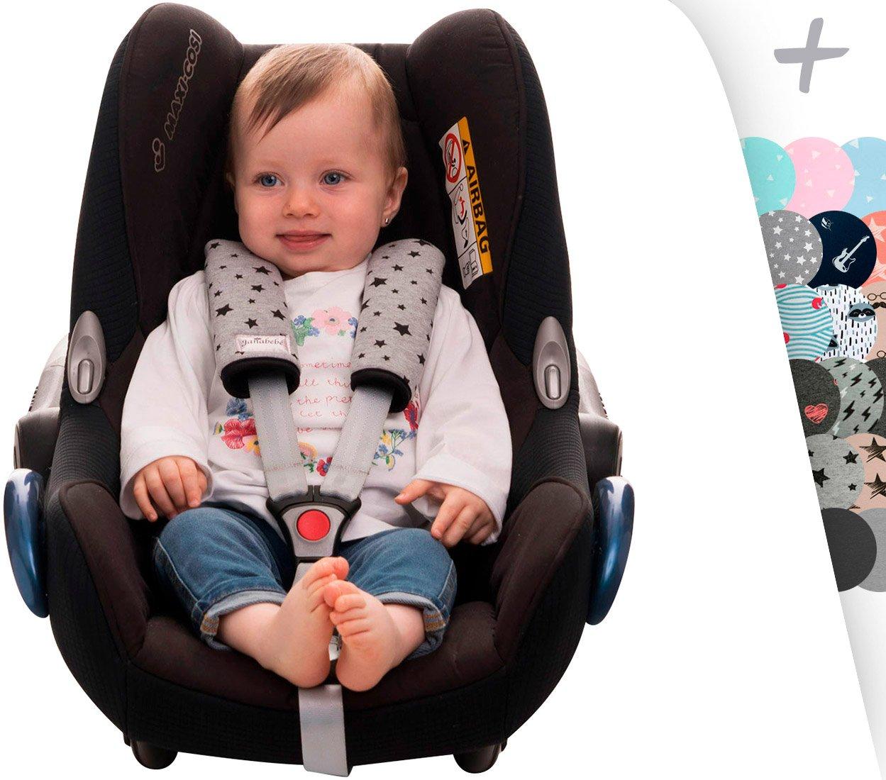 JANABEBE Gurtpolster Gurtpolster Set - universal für Babyschale, Buggy, Kinderwagen, Autositz (z.B. Maxi Cosi City SPS, Cabrio, Cybex Aton usw.) CY/F06/020/100