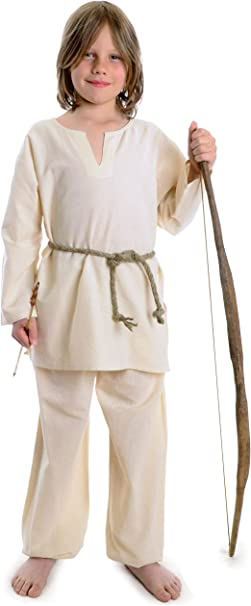 Pure Cotton Children Clothing HEMAD Kids Medieval Tunic brown-green-beige