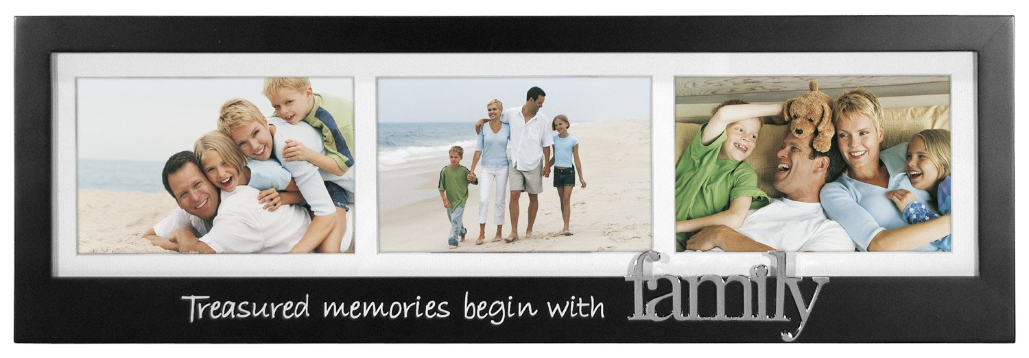 Malden Treasured Memories Begin with Family Silver Expression 3-Opening Frame, 4 by 6-Inch by Malden International