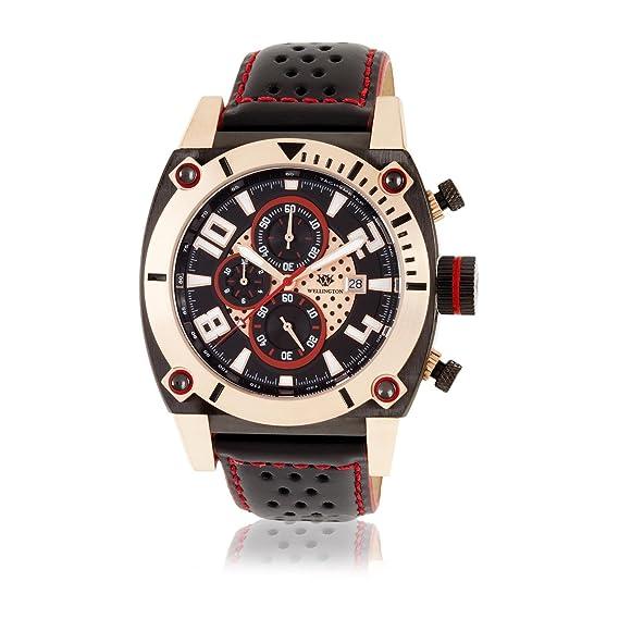 Wellington WN102-662 - Reloj cronógrafo de caballero de cuarzo con correa de piel negra - sumergible a 50 metros: Amazon.es: Relojes