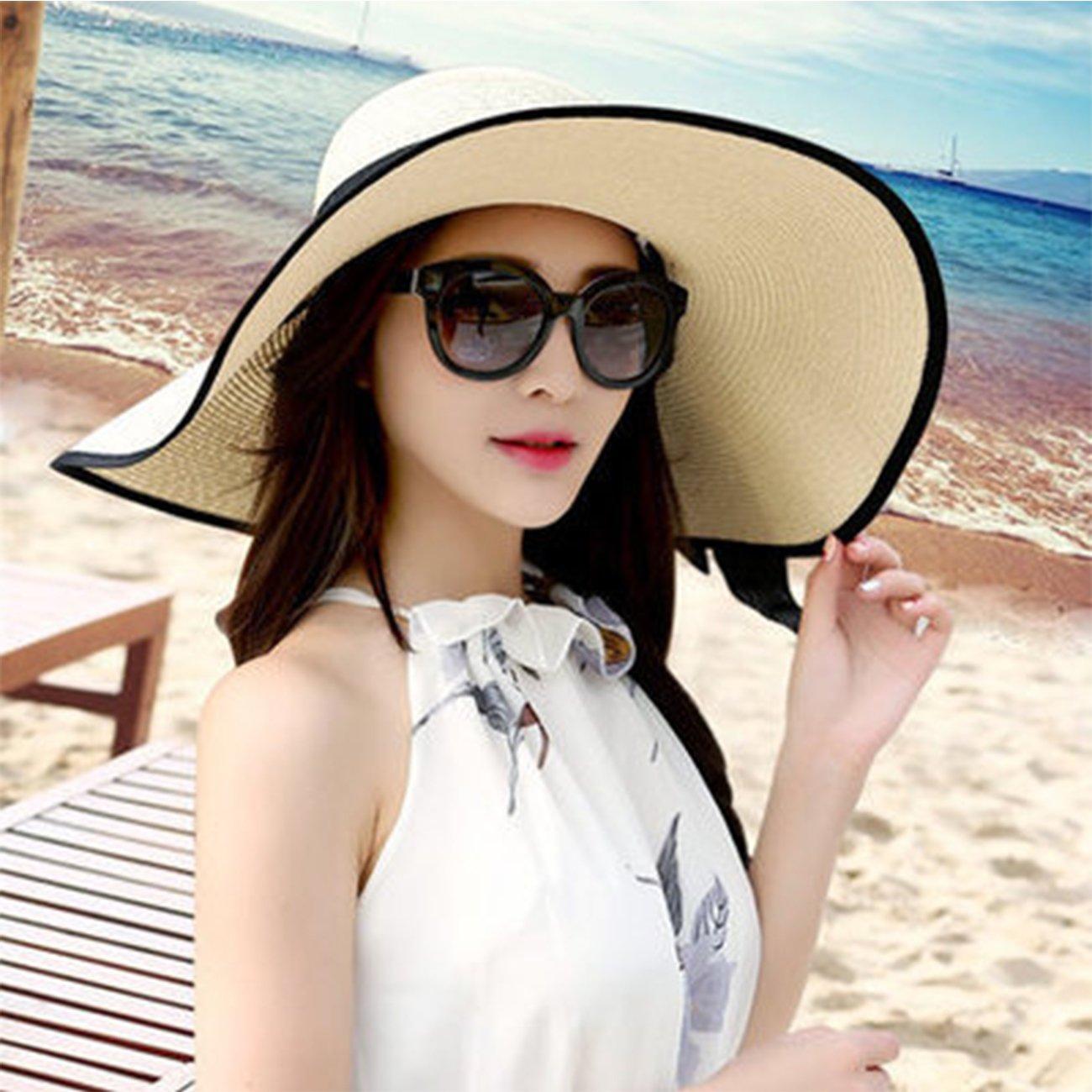 b6badbf1 DRESHOW Beach Sun Hat for Women Wide Brim Floppy Straw Sun Hats Roll up  Packable UPF ...