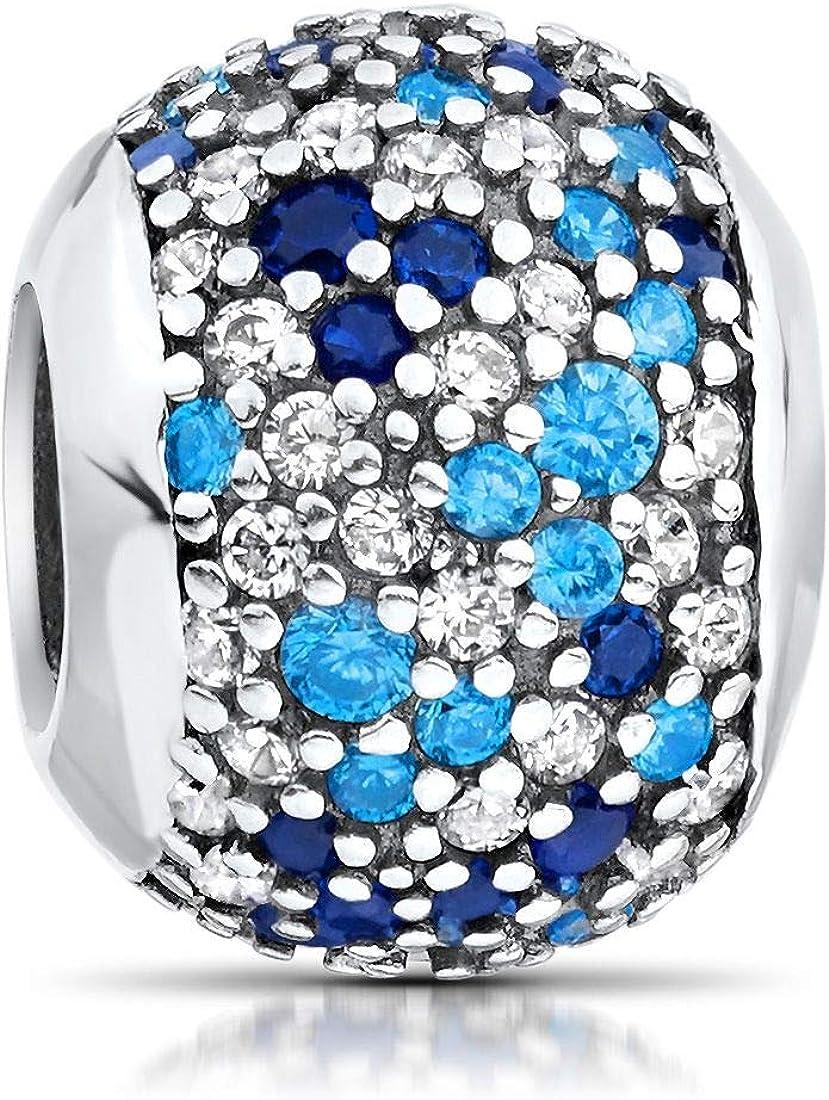 /Charms Bola Royal Azul para Pulsera con joyas de caja 54 MATERIA Mujer Beads Perla Plata 925/Circonita/