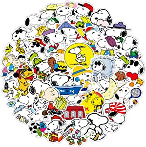 Pack of 50 Cute Graffiti Vinyl Stickers for Snoopy,Funny Caricature Waterproof Stickers for WaterBottles Laptop Computer Flasks Phone Bike,Funny Stickers Pack for Kids Boys Girls Teens Toddlers.