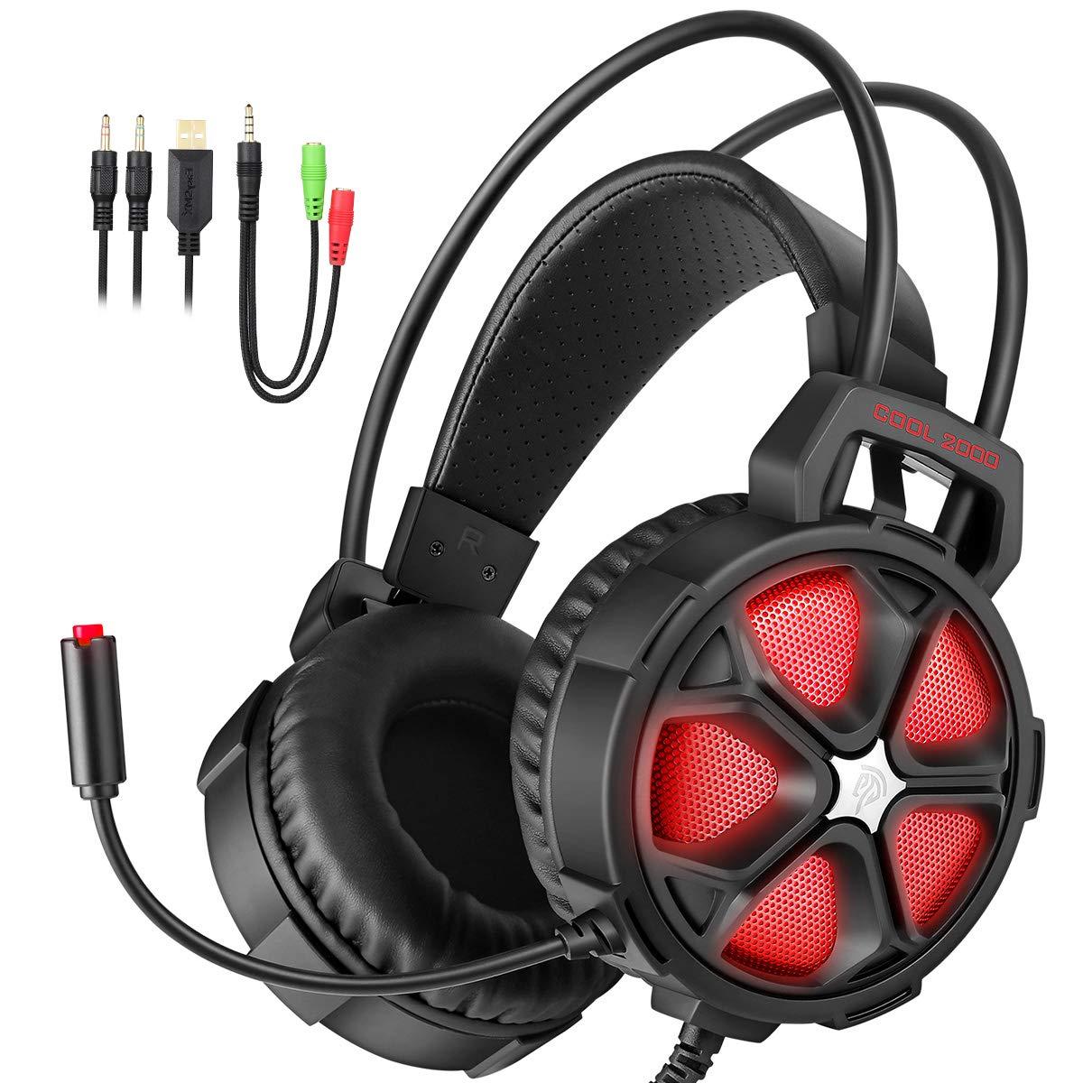 EasySMX G1200 Auriculares para PS4, Cascos con Micró fono Ajustable y Control de Volumen y una Tecla Mute Compatible con PS4/ PC/Laptop/ Mó vil/Pad (Azul) para Jugadores 49-0020