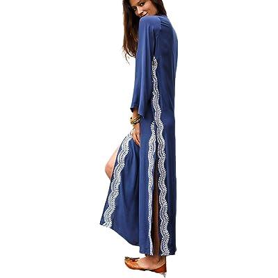 Beach Dresses for Women Women's Floral Ethnic Print Kaftan Maxi Dress Summer Beach Dress (7119, One Size) at Amazon Women's Clothing store