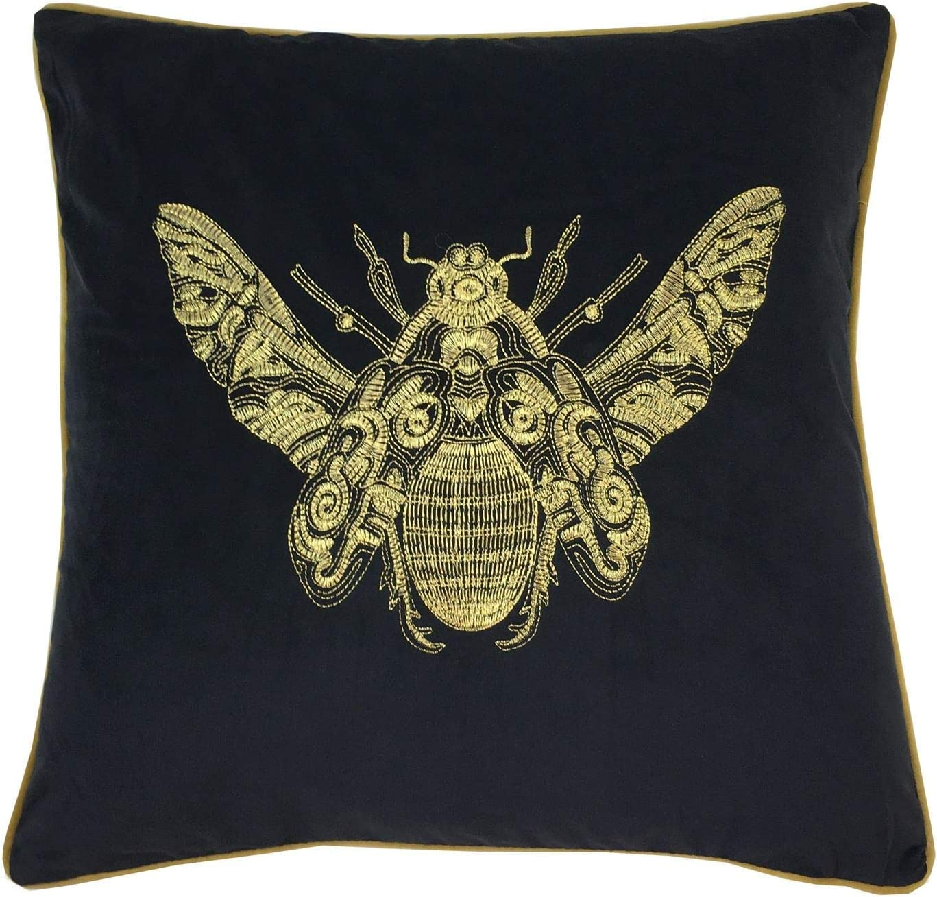 Embroidered Bumble Bee Black Gold Velvet Piped 20 50cm Cushion Cover Amazon Co Uk Garden Outdoors