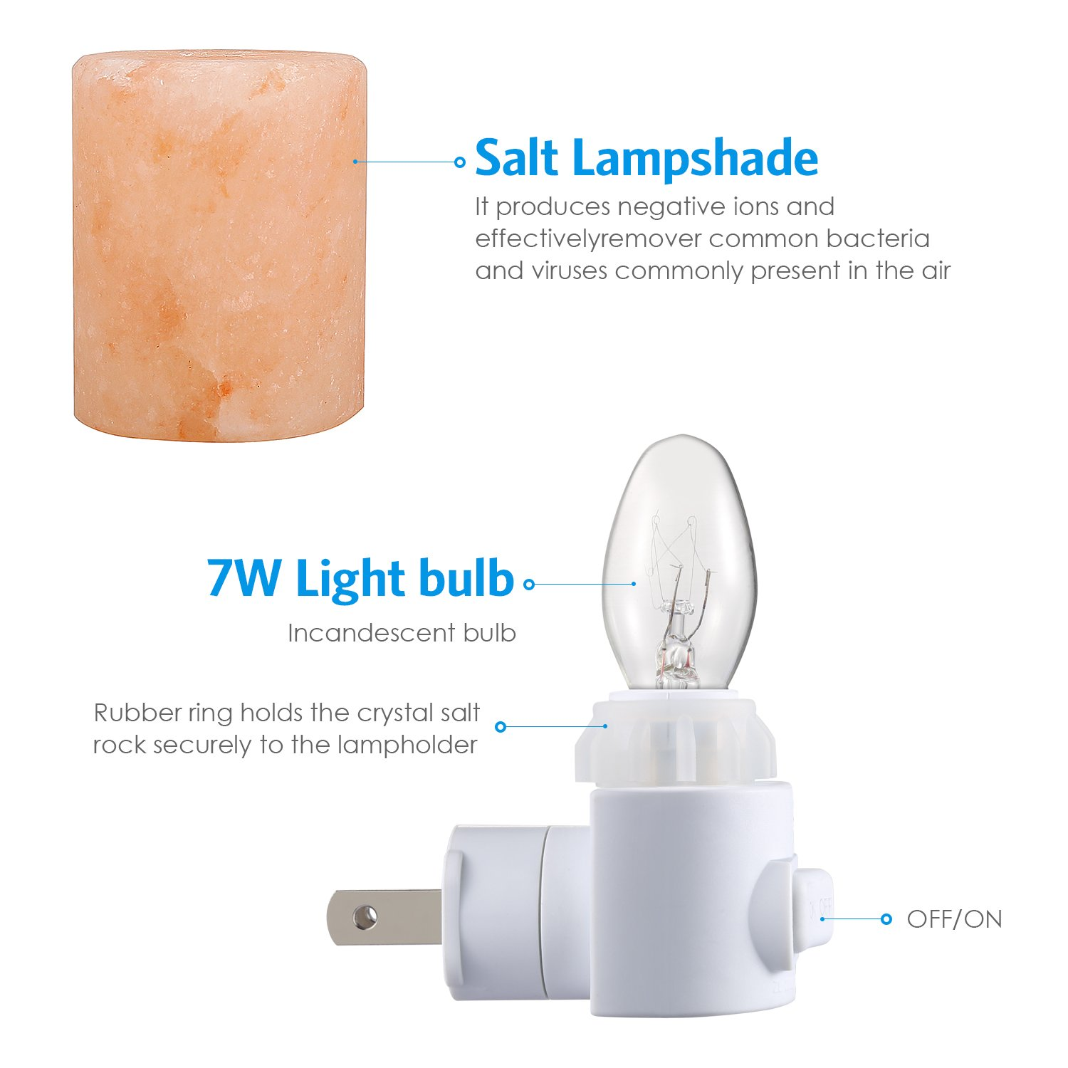 AMIR Salt Lamp, Natural Himalayan Crystal Salt Light with 2 Bulbs (1 Colorful Bulb), 11.2 Ounces Mini Hand Carved Night Light with UL-Approved Wall Plug for Air Purifying, Lighting and Decoration by AMIR (Image #5)