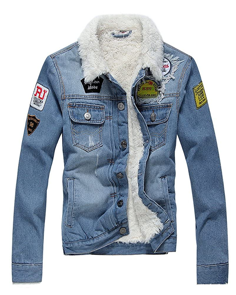 Hotmiss Men Winter Fleece Lined Fur Collar Denim Jacket Patches