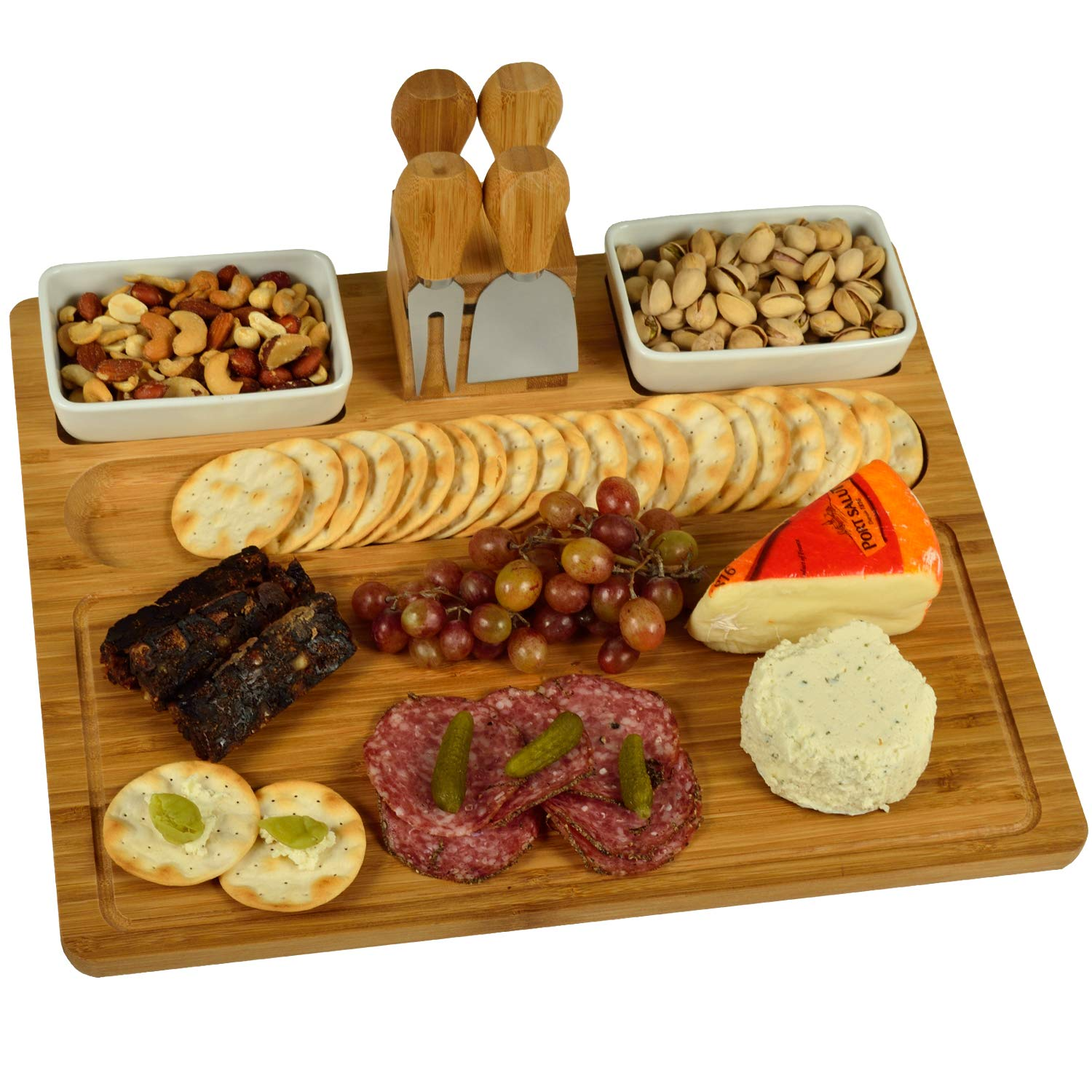 Picnic at Ascot Large Bamboo Cheese/Charcuterie Board with 4 Stainless Steel Cheese Tools & 2 Ceramic Trays with Bamboo Spoons - 16