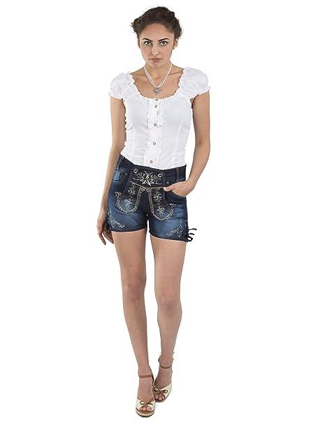Promo-Codes weich und leicht besser Schöneberger Trachten Damen Trachtenjeans - Hotpants Jeans Stretch -  Lederhose blau