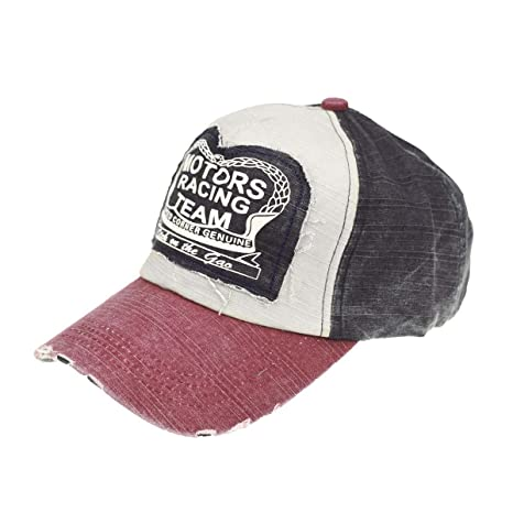 40874bbe1f9 Yusongirl Vintage Washed Denim Baseball Cap Classic Cotton Dad Hat  Adjustable Plain Unisex (Dark Red)  Amazon.ca  Clothing   Accessories