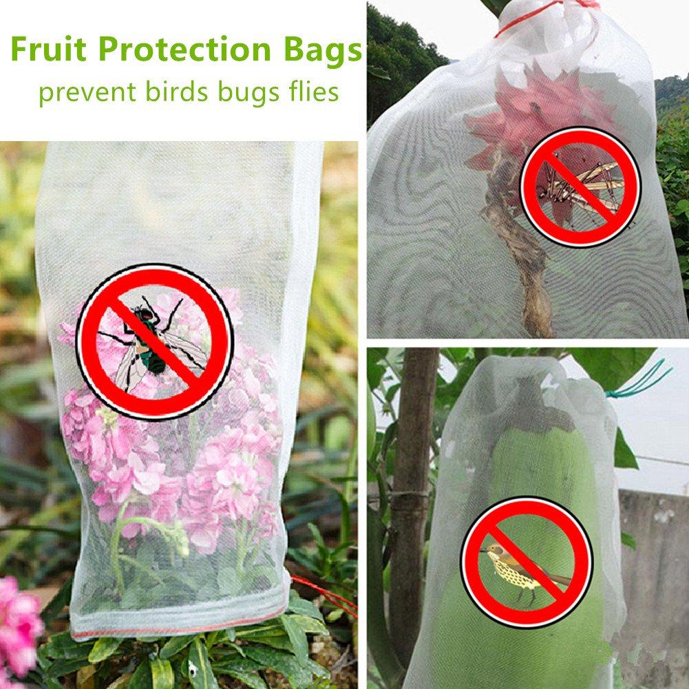 REDODECO 30pcs Garden Reusable Nylon Fruit Plants Protection Netting Bags Prevent Birds Bugs Squirrels (12'' L x 9'' W)