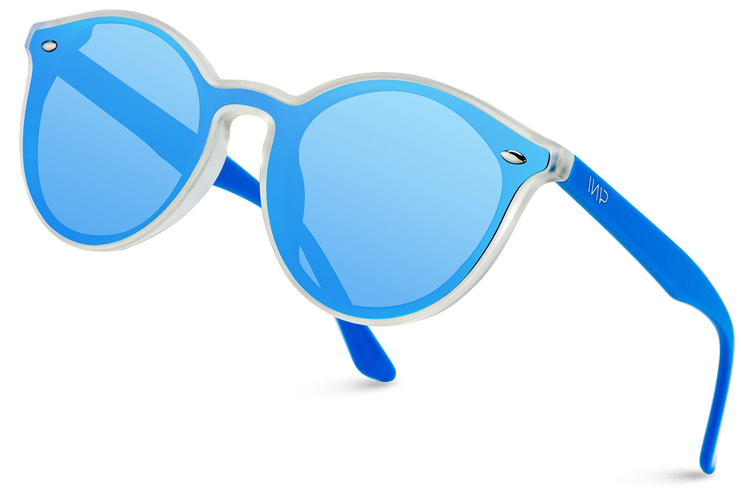 WearMe Pro - Round Flat Lens Retro Sunglasses (Clear Frame/Mirror Blue Lens) by WearMe Pro