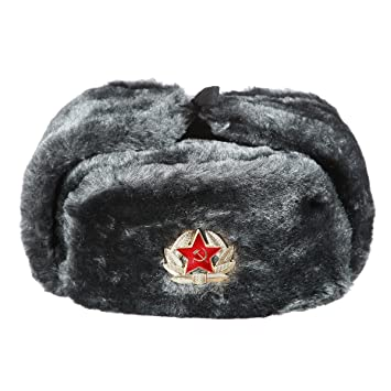 Russian USSR Winter Gray Fur Ushanka Hat + Soviet Red Star Badge ... 72a2a8769fc7