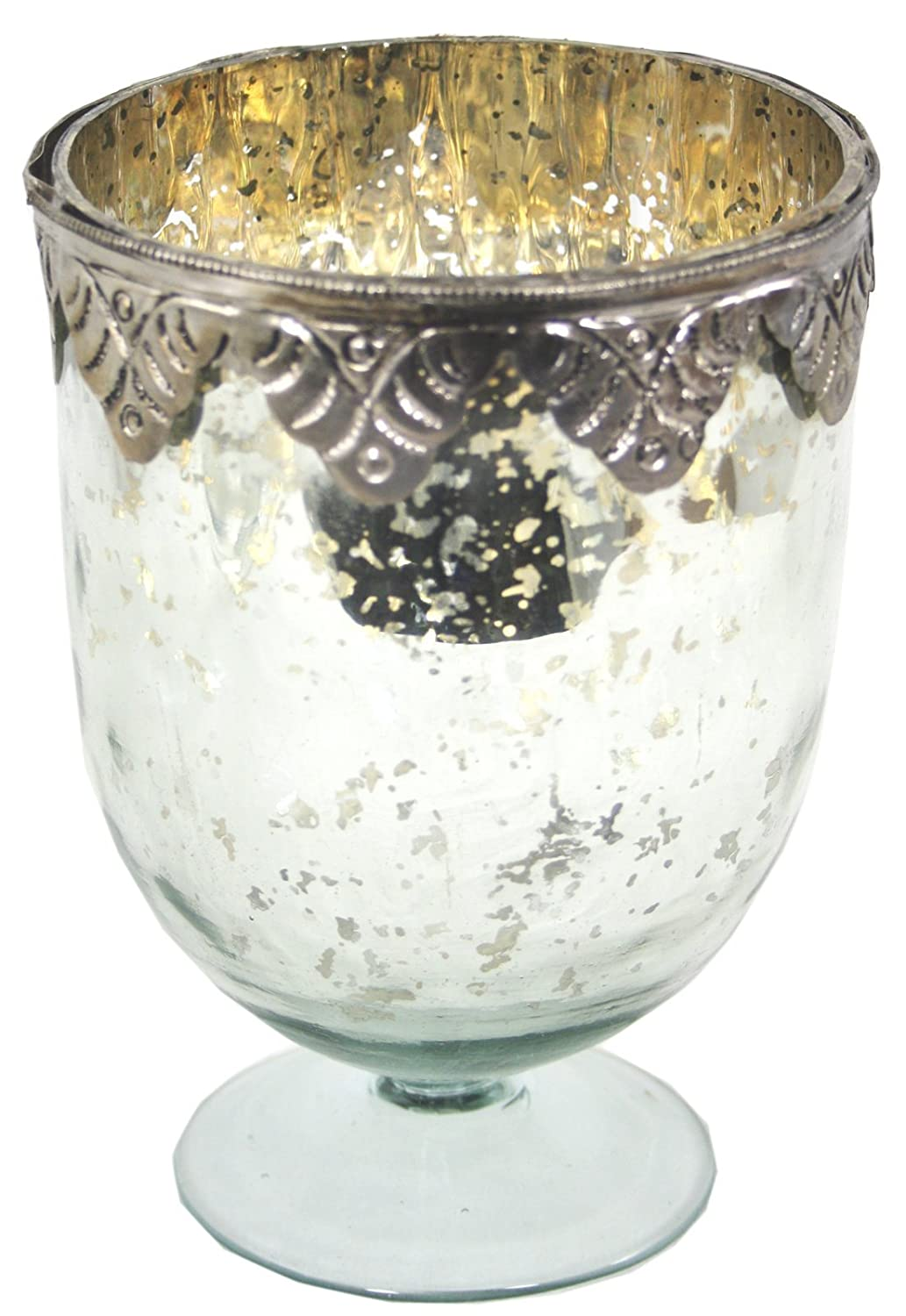 marymarygardens Glass And Metal Candle Holder With A Distressed Silver Decoration