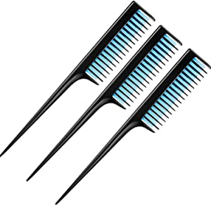3 Piece Triple Teasing Comb, Rat Tail Combs for Women, Tool Structure Tease Layers Rattail Comb, Rat Tail Comb for Back Combing Root Teasing, Adding Volume, Evening Styling (Black and Blue)