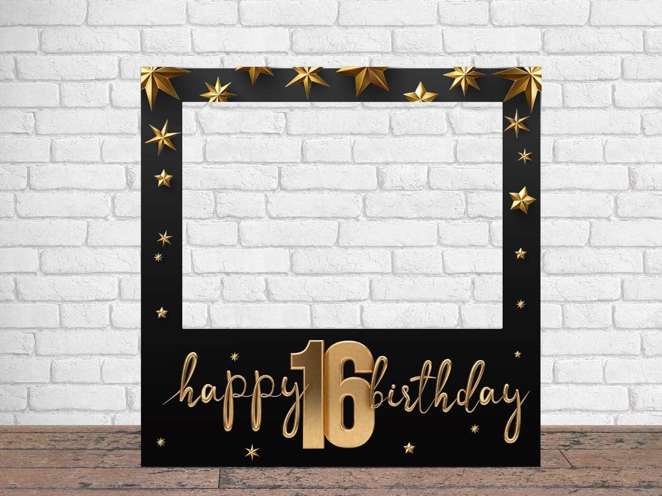 Photocall Feliz 16 Cumpleaños Estrellas 100 x100 cm | Regalos para Cumpleaños | Photocall Económico y Original | Ideas para Regalos | Regalos Personalizados de Cumpleaños