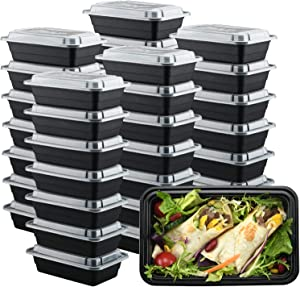50 Pack Plastic Meal Prep Containers 28 oz. Reusable Takeaway Container, Disposable Food Storage Container with Lids, Bento Lunch Box, Food Prep Freezer Container, Deli Togo Box