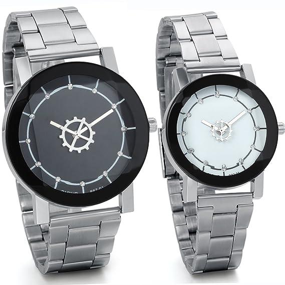 Jewelrywe Parejas relojes diamante de imitación negro blanco grande sencillo reloj clásico Correa de acero inoxidable
