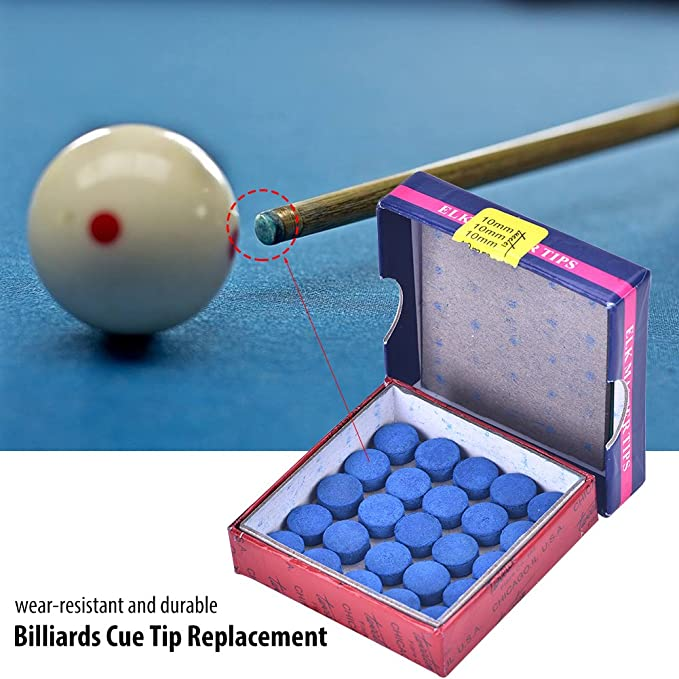 Box Of 50pcs Glue-on Pool Billiards Snooker Cue Tips Accessories 10mm Blue