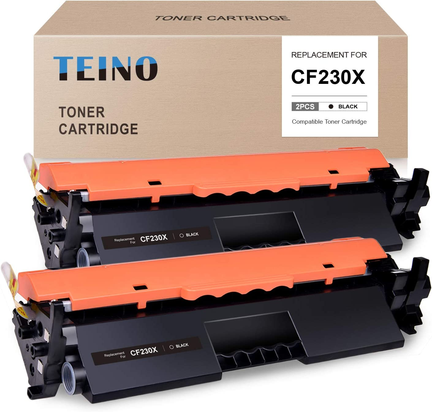 TEINO Compatible Toner Cartridge Replacement for HP 30X CF230X 30A CF230A use with HP Laserjet Pro MFP M227fdw M227fdn M227d Laserjet Pro M203dw M203dn M203d (Black, 2-Pack)