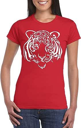 Red Female Gildan Short Sleeve T-Shirt - Tiger – Arabic Calligraphy design