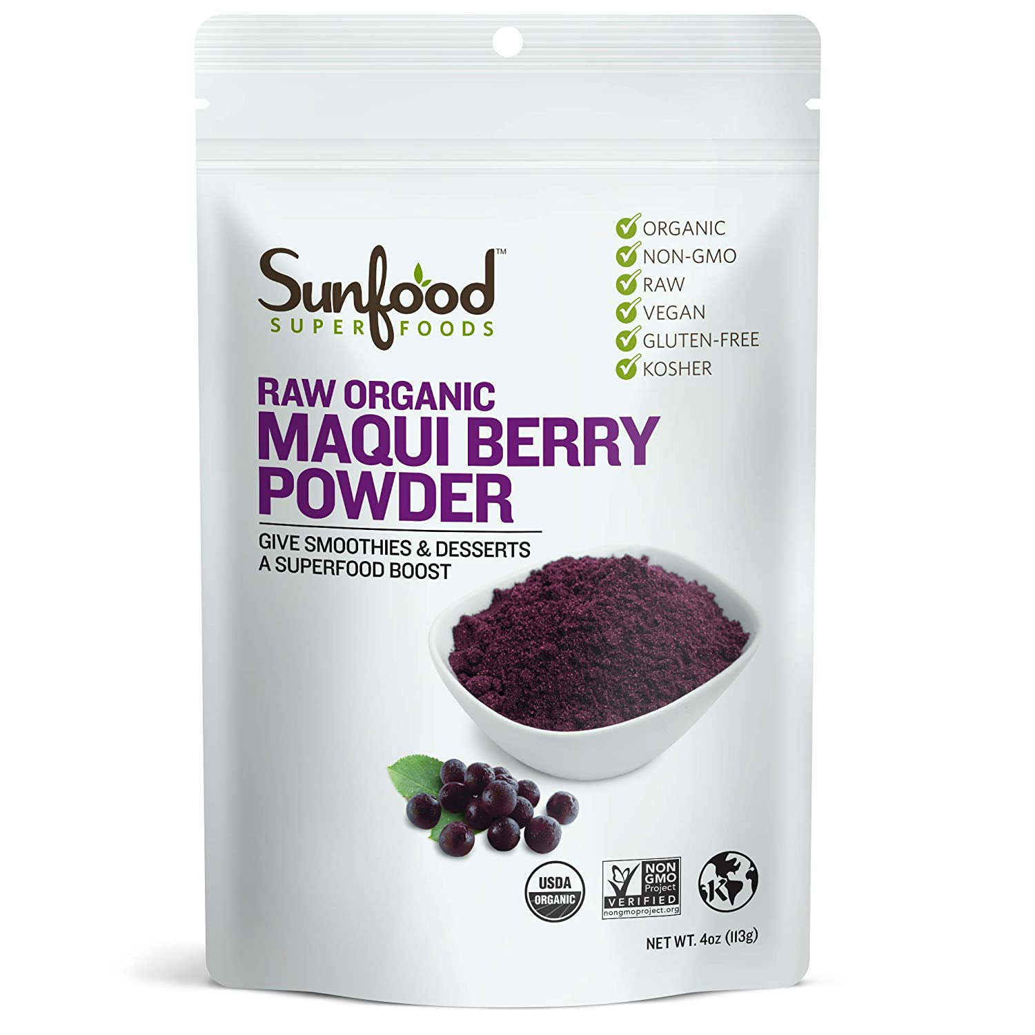 Amazon Com Sunfood Maqui Berry Powder 4 Ounces Nutritional