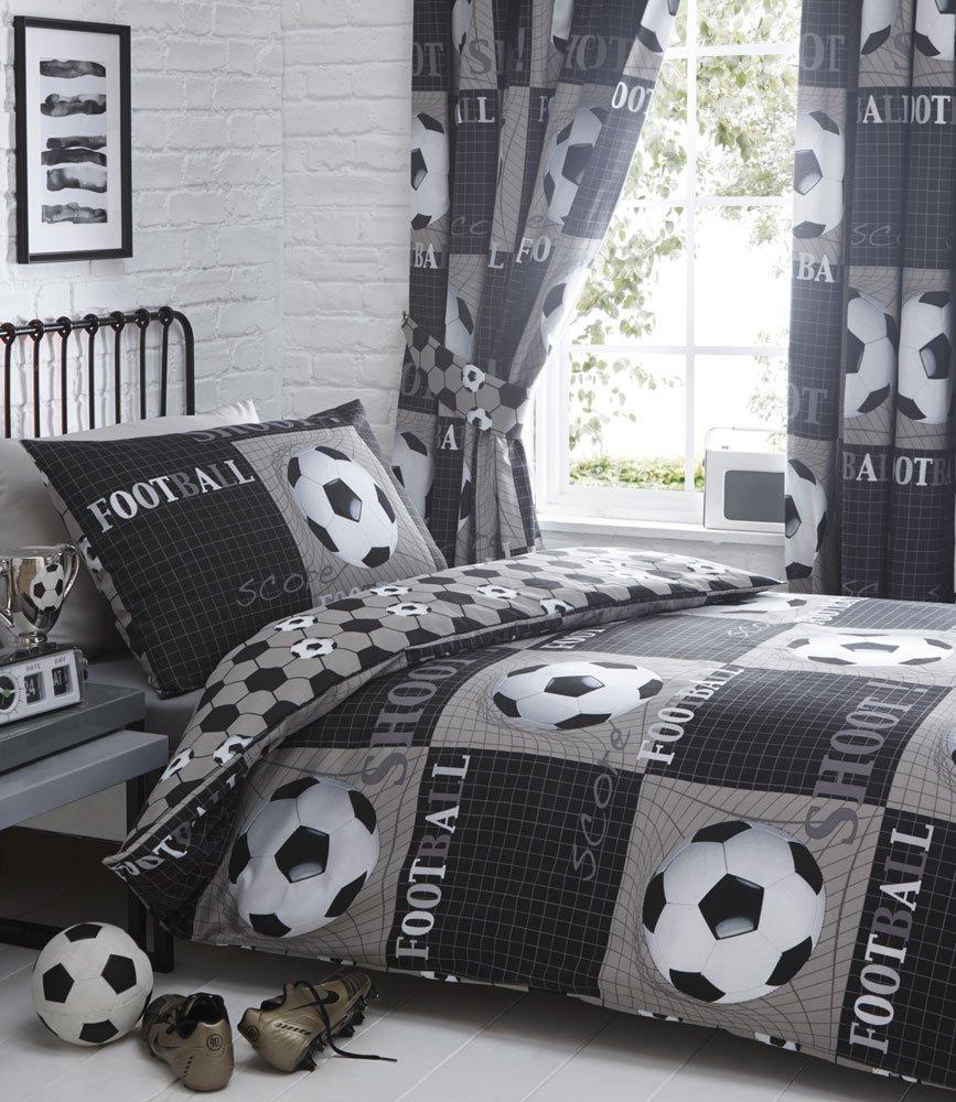 DOUBLE Duvet Cover Set Football Themed DOUBLE SIZE Bedding (Duvet Set + Curtains 66x54