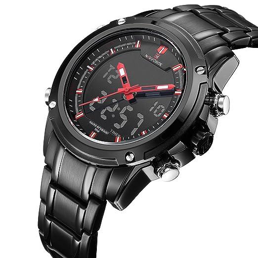Relojes Analógicos Digitales Para Hombres. Relojes De Pulsera De Acero Inoxidable a Prueba De Agua Con Doble Fecha y Día.: Amazon.es: Relojes