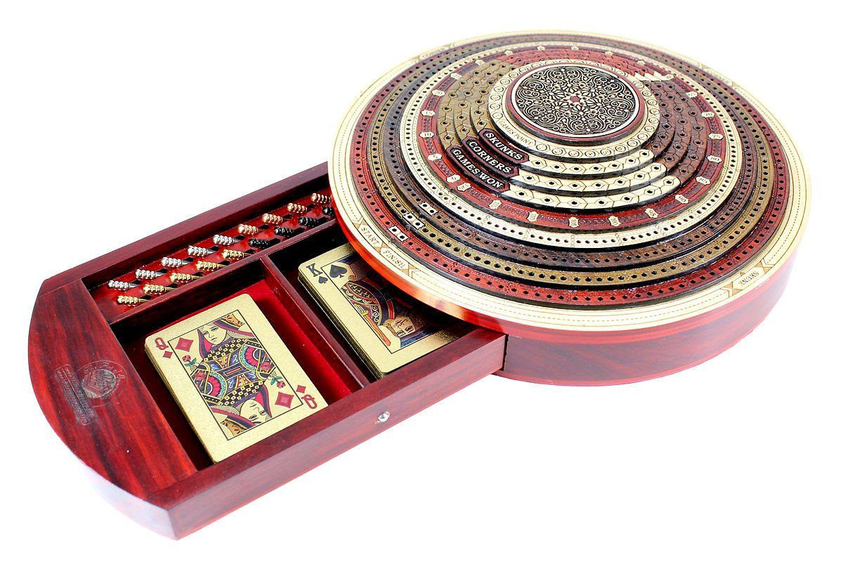 House of Cribbage - 3D Round Shape 4 Stepped Tracks Continuous Cribbage Board in Bloodwood / Maple / Teak / Rosewood with Skunks & Corners - SKU# 80RND-10-3D-4T-120-DR