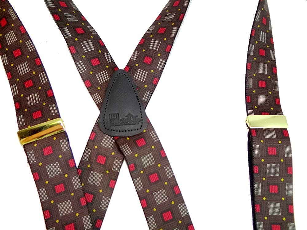 Hold-Ups Windows Too Pattern X-back Suspenders 1 3//8 No-slip Gold Clips 0320XG