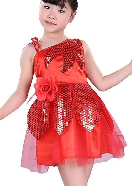 EOZY Vestidos niño Niña Ballet tutú lentejuelas sin mango Leotardo Rojo 130