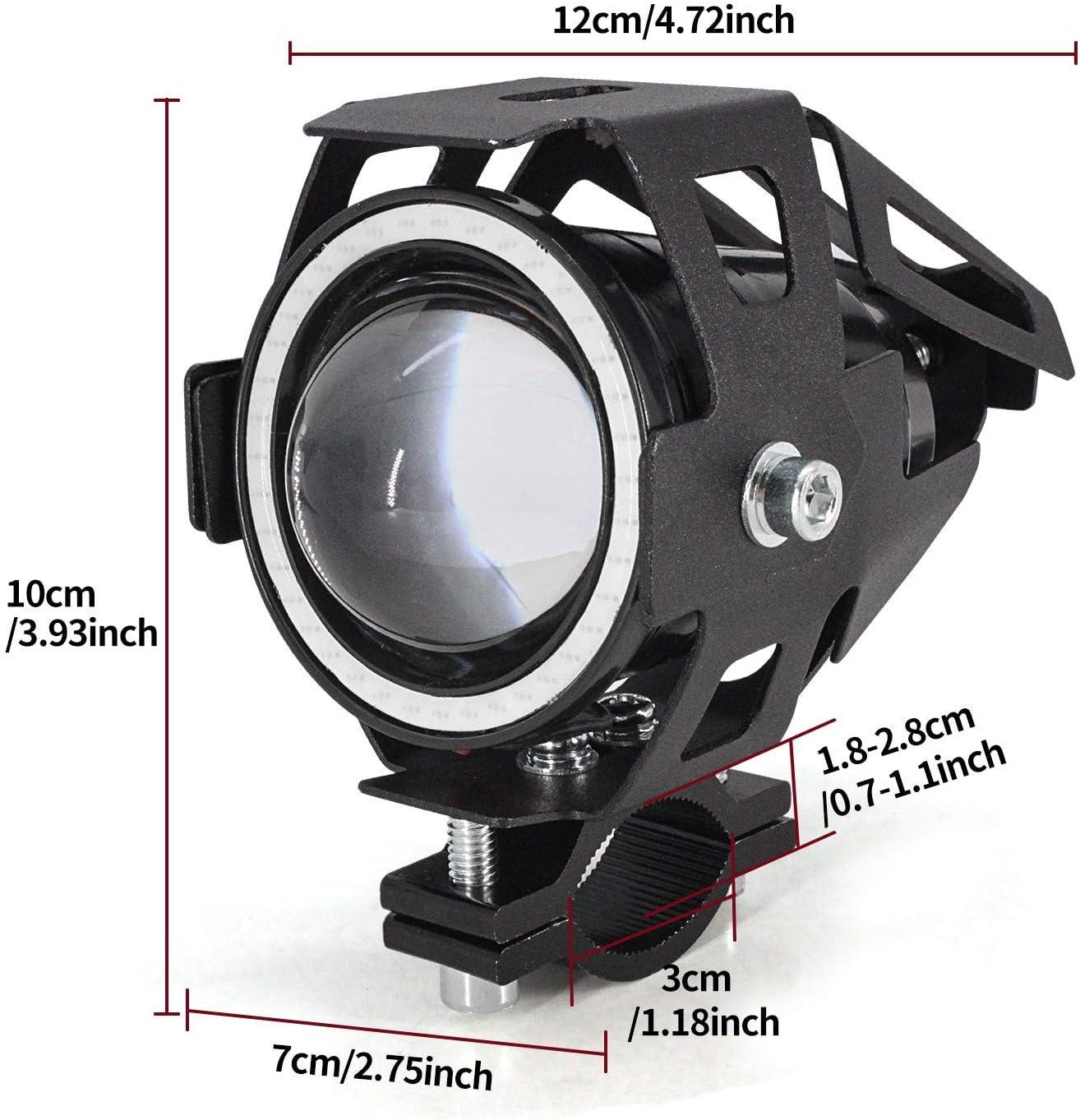 Biqing 2Pcs Phares Avant de Moto,U7 Phares suppl/émentaires pour moto 12V//24V Feux Antibrouillard LED 6000K avec interrupteur pour Quad Scooter Moto Bleu