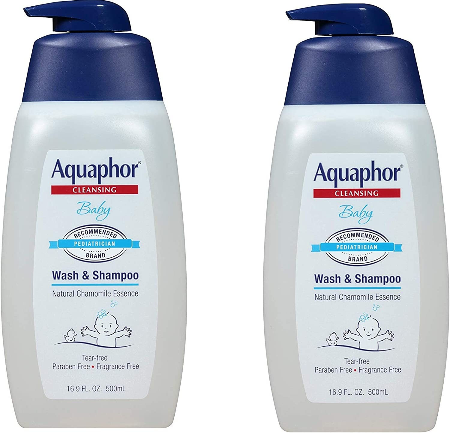 Aquaphor Baby Wash and Shampoo - Mild, Tear-free 2-in-1 Solution for Babyâ€s Sensitive Skin - 16.9 fl. oz. Pump, 2 Pack